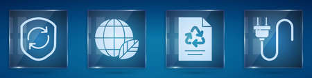 Set Recycle symbol inside shield, Earth globe and leaf, Paper with recycle and Electric plug. Square glass panels. Vector