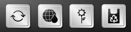 Set Refresh, Earth planet in water drop, Leaf plant in gear machine and Plastic bag with recycle icon. Silver square button. Vector