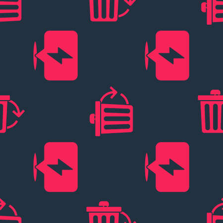 Set Lightning bolt and Recycle bin with recycle on seamless pattern. Vector