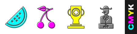 Set Casino slot machine with watermelon, Casino slot machine with cherry, Casino poker trophy cup and Poker player icon. Vector Vettoriali