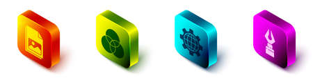 Set Isometric Picture landscape, RGB and CMYK color mixing, Globe of the Earth and gear and Fountain pen nib icon. Vector
