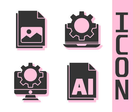 Set AI file document, Picture landscape, Computer monitor and gear and Laptop and gear icon. Vector 일러스트
