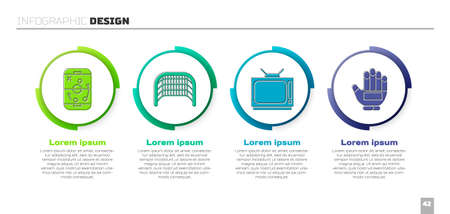 Set Planning strategy, Ice hockey goal, Retro tv and Hockey glove. Business infographic template. Vector