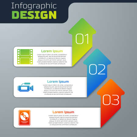 Set Play Video, Cinema camera and CD disk award in frame. Business infographic template. Vector