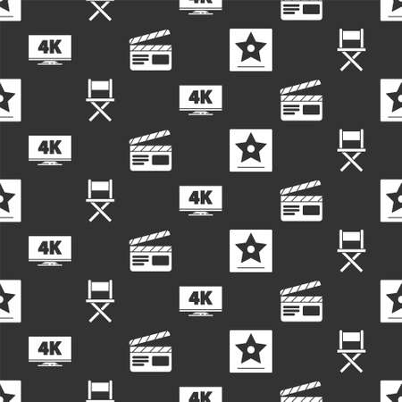 star, Director movie chair, Screen tv with 4k and Movie clapper on seamless pattern. Vector