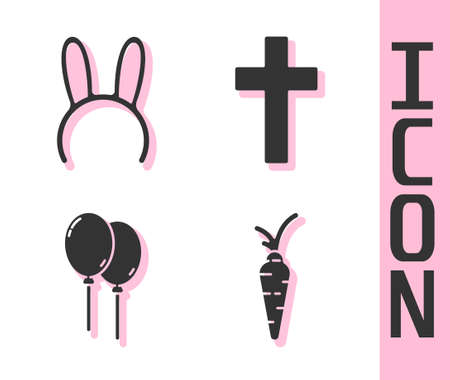 Set Carrot, Mask with long bunny ears, Balloons with ribbon and Christian cross icon. Vector Vettoriali