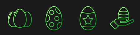 Set line Easter egg, Easter eggs, Easter egg and Human hand and easter egg. Gradient color icons. Vector