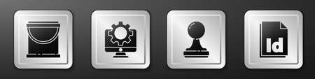 Set Paint bucket, Computer monitor and gear, Stamp and ID File document icon. Silver square button. Vector