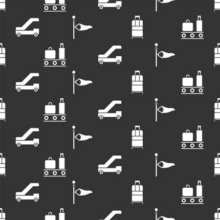 Set Suitcase, Airport conveyor belt with suitcase, Passenger ladder for plane boarding and Cone meteorology windsock wind vane on seamless pattern. Vector