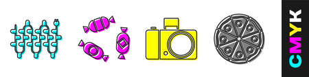 Set Christmas lights, Candy, Photo camera and Pizza icon. Vector