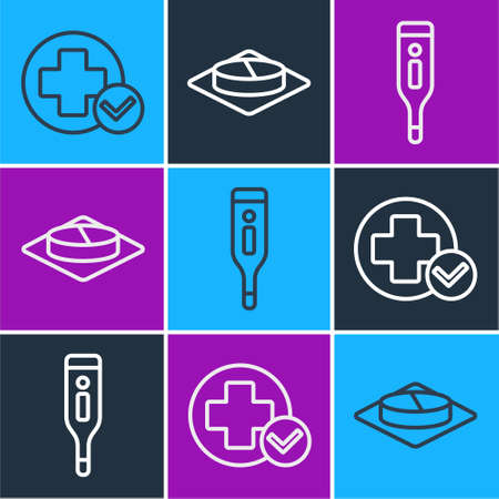 Set line Cross hospital medical, Medical digital thermometer and Medicine pill or tablet icon. Vector  イラスト・ベクター素材