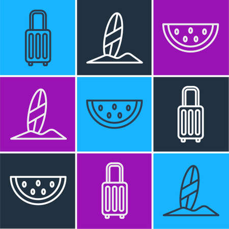 Set line Suitcase, Watermelon and Surfboard icon. Vector