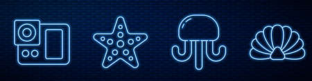 Set line Jellyfish, Photo camera, Starfish and Scallop sea shell. Glowing neon icon on brick wall. Vector