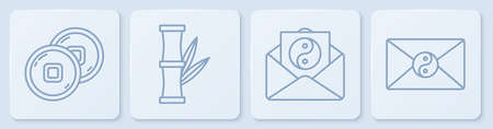 Set line Chinese Yuan currency, Yin Yang and envelope, Bamboo and Yin Yang and envelope. White square button. Vector