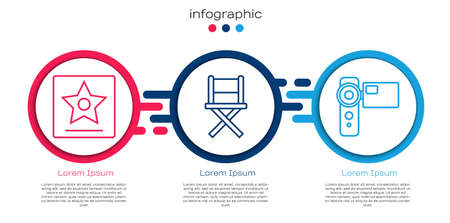 Set line  star, Director movie chair and Cinema camera. Business infographic template. Vector