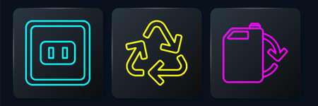 Set line Electrical outlet, Eco fuel canister and Recycle symbol. Black square button. Vector