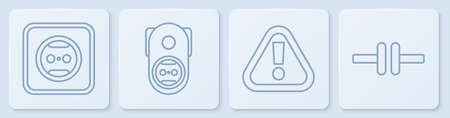 Set line Electrical outlet, Exclamation mark in triangle, Electrical outlet and Electric circuit scheme. White square button. Vector