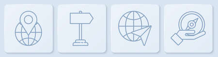 Set line Location on the globe, Globe with flying plane, Road traffic sign and Compass. White square button. Vector Illusztráció