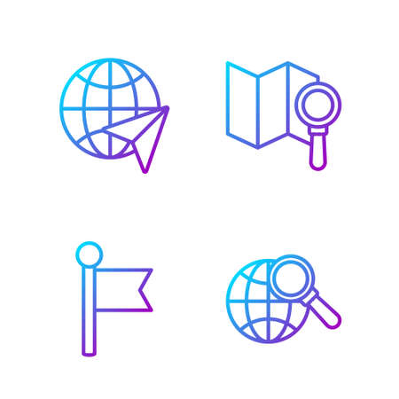 Set line Magnifying glass with globe, Location marker, Globe with flying plane and Search location. Gradient color icons. Vector. Illusztráció