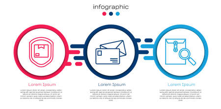 Set line Delivery pack security with shield, Envelope and Envelope with magnifying glass. Business infographic template. Vector.