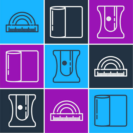 Set line Protractor, Pencil sharpener and Paper towel roll icon. Vector.  イラスト・ベクター素材