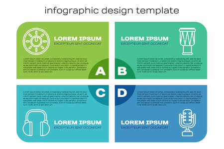 Set line Headphones, Dial knob level technology settings, Microphone and Drum. Business infographic template. Vector.
