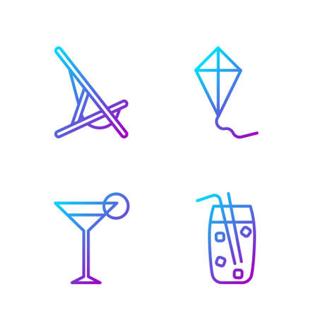 Set line Cocktail and alcohol drink, Martini glass, Sunbed and Kite. Gradient color icons. Vector.