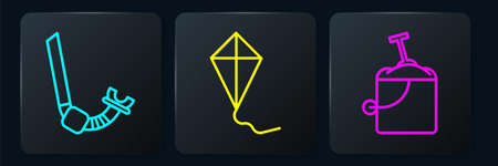 Set line Snorkel, Sand in bucket with shovel and Kite. Black square button. Vector.