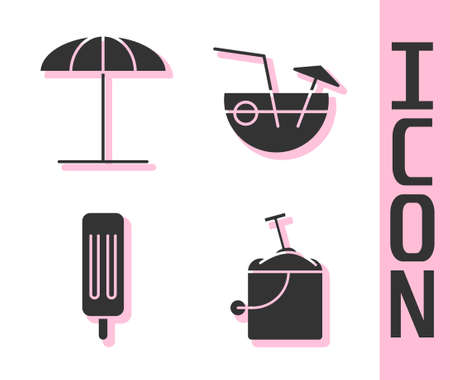 Set Sand in bucket with shovel, Sun protective umbrella for beach, Ice cream and Coconut cocktail icon. Vector