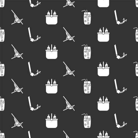 Set Cocktail and alcohol drink, Snorkel, Sunbed and Cooler bag and water on seamless pattern. Vector