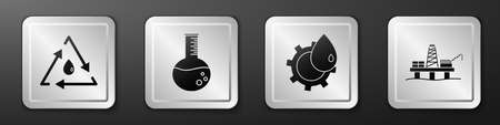 Set Oil drop with recycle, Oil petrol test tube, Oil industrial factory building and Oil platform in the sea icon. Silver square button. Vector