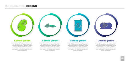 Set Bio fuel, Oil tanker ship, Barrel oil with dollar and Oil industrial factory building. Business infographic template. Vector