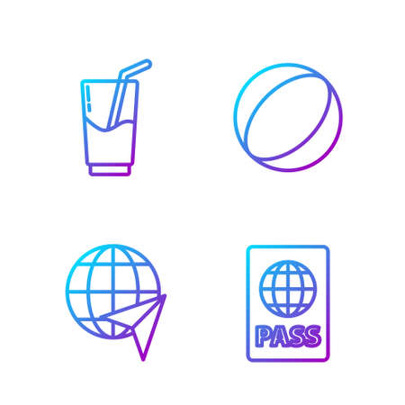 Set line Passport, Globe with flying plane, Cocktail and alcohol drink and Beach ball. Gradient color icons. Vector