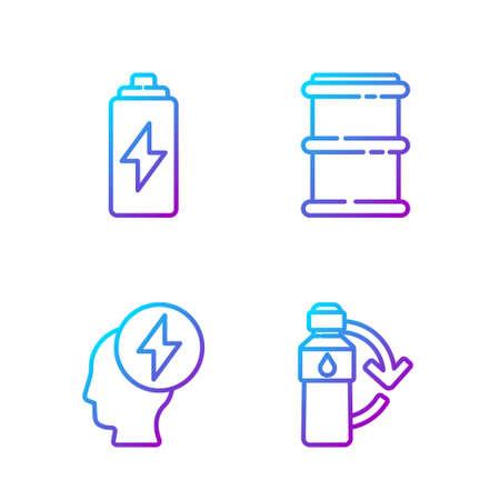 Set line Recycling plastic bottle, Head and electric symbol, Battery and Barrel. Gradient color icons. Vector Illusztráció