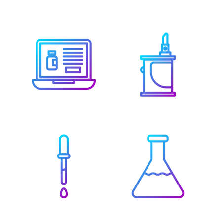 Set line Test tube and flask, Pipette, Buying drugs online on laptop and Electronic cigarette. Gradient color icons. Vector