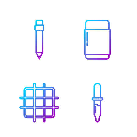 Set line Pipette, Grid graph paper, Pencil with eraser and Eraser or rubber. Gradient color icons. Vector