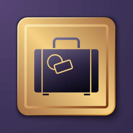 Purple Suitcase for travel icon isolated on purple background. Traveling baggage sign. Travel luggage icon. Gold square button. Vector Illustration