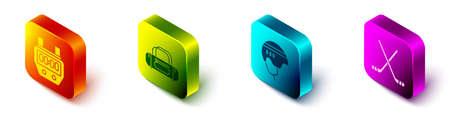 Set Isometric Stopwatch, Sport bag, Hockey helmet and Ice hockey sticks icon. Vector Illusztráció