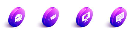Set Isometric Speech bubble chat, Express envelope, Mail and e-mail on speech bubble and Speech bubble with envelope icon. Vector Vecteurs
