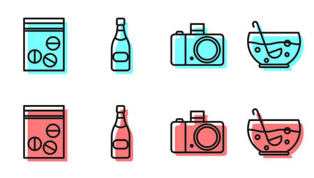Set line Photo camera, Plastic bag of drug, Champagne bottle and Mixed punch in bowl icon. Vector Ilustracja