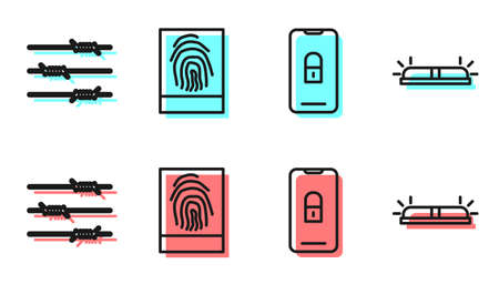 Set line Mobile with closed padlock, Barbed wire, Fingerprint and Flasher siren icon. Vector