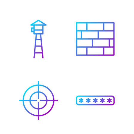 Set line Password protection, Target sport, Watch tower and Bricks. Gradient color icons. Vector