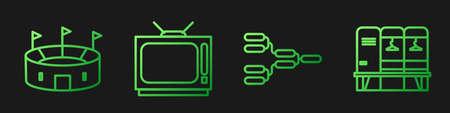 Set line Championship tournament bracket, Hockey stadium, Retro tv and Locker or changing room. Gradient color icons. Vector