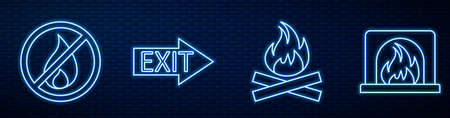 Set line Campfire, No fire, Fire exit and Interior fireplace. Glowing neon icon on brick wall. Vector Illustration