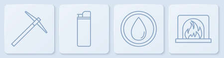 Set line Pickaxe, Water drop, Lighter and Interior fireplace. White square button. Vector