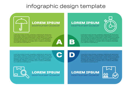 Set line Search package, Umbrella, Package box with check mark and Fast time delivery. Business infographic template. Vector Illusztráció