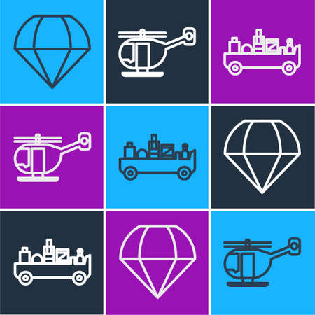 Set line Parachute, Airport luggage towing truck and Helicopter icon. Vector Ilustração
