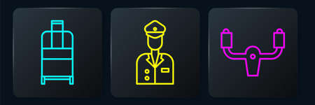 Set line Suitcase, Aircraft steering helm and Pilot. Black square button. Vector