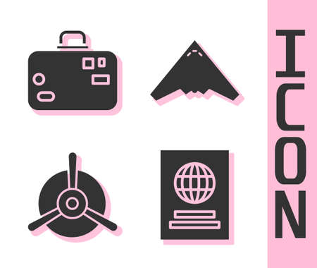 Set Passport, Suitcase, Plane propeller and Jet fighter icon. Vector