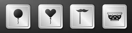 Set Balloon with ribbon, Balloon in form of heart, Paper mustache on stick and Mixed punch in bowl icon. Silver square button. Vector